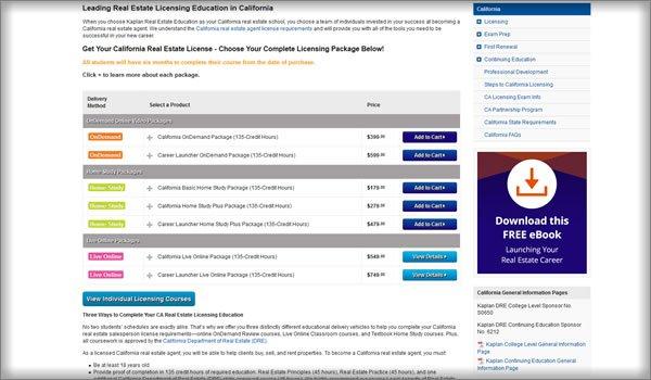 Kaplan Real Estate School Pricing