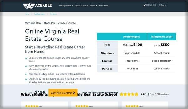 AceableAgent virginia pre-license course