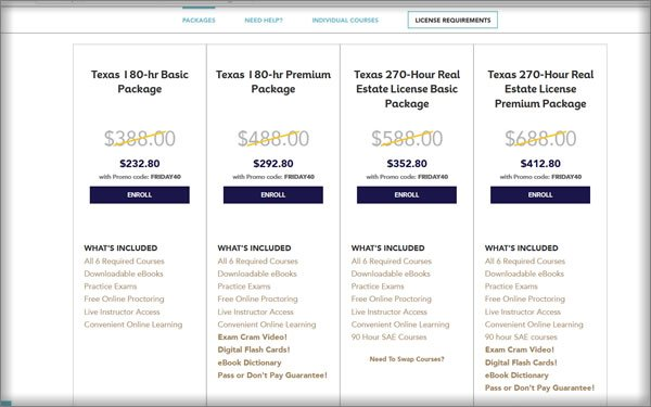 Texas Course Pricing
