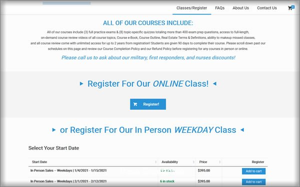 American Real Estate Academy course options