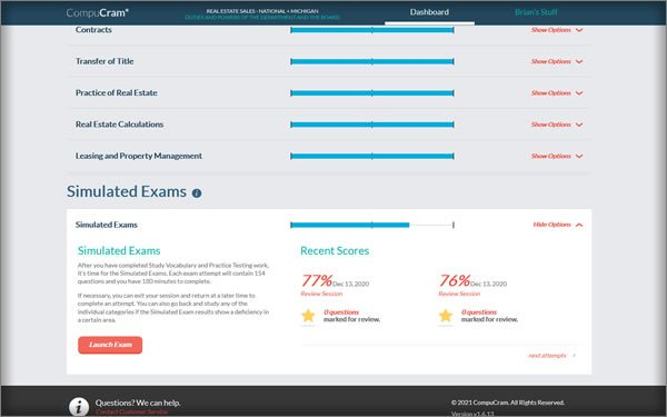 simulated state compucram exam
